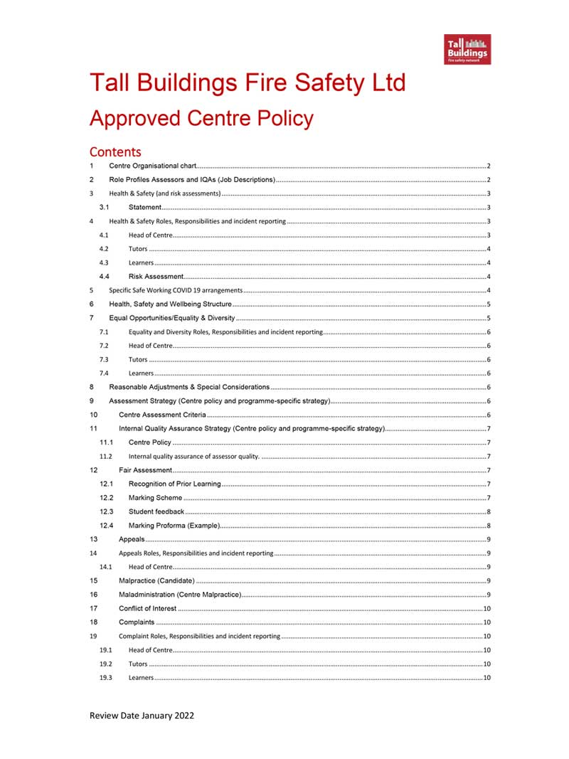 Image of TBFSN Approved Centre Application document